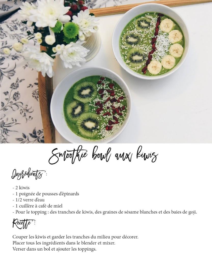 recette smoothie bowl petit déjeuner kiwis blog lucileinwonderland lifestyle food pinterest