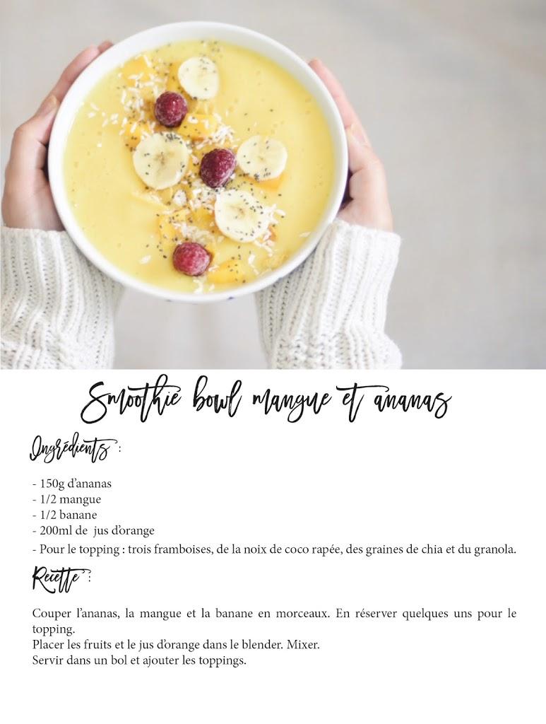 recette smoothie bowl petit déjeuner mangue ananas blog lucileinwonderland lifestyle food pinterest